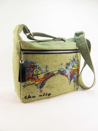Сумка из парусины  Вышитая сумка через плечо Хаки сумка из ткани