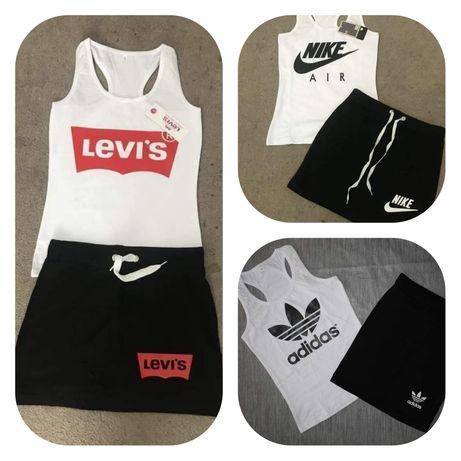 Zestaw damski koszulka tshirt Spódniczka Levis Adidas Nike Ck