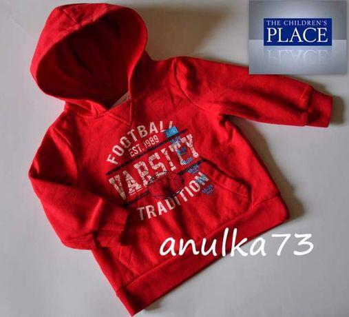 NOWA chłopięca czerwona bluza z kapturem TC PLACE z USA 18-24m 92