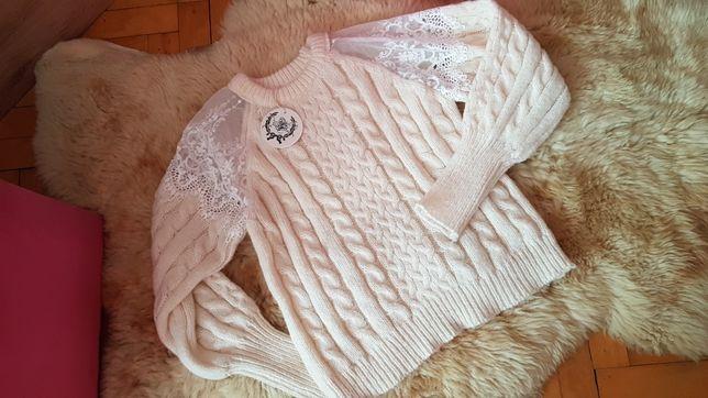 Sweter sweterek gruby z koronką rozmiar uniwersalny nowy
