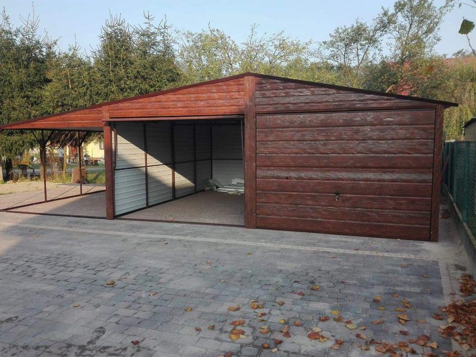 garaże blaszane drewnopodobne, garaż 6x5 plus wiata 3x5, dwuspad