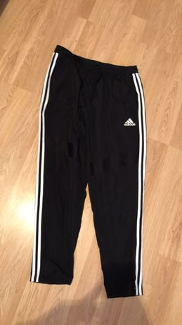 spodnie adidas meskie L paski czarne dres dresy oryginalne
