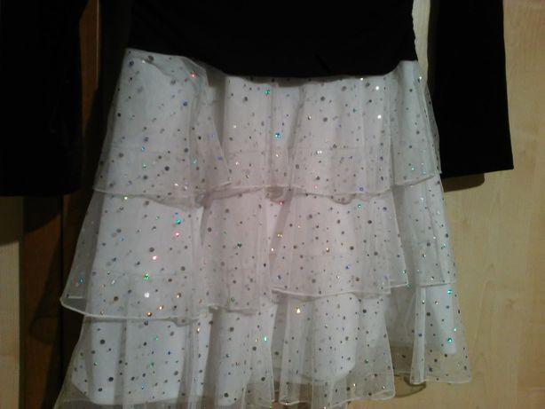 sukienka JEDYNA taka- z narzutką welur/aksamit mieniąca się na 14 lat
