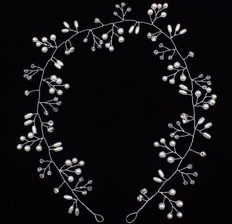 Biżuteria ślubna - gałązka srebrna perełki kryształki / komunia