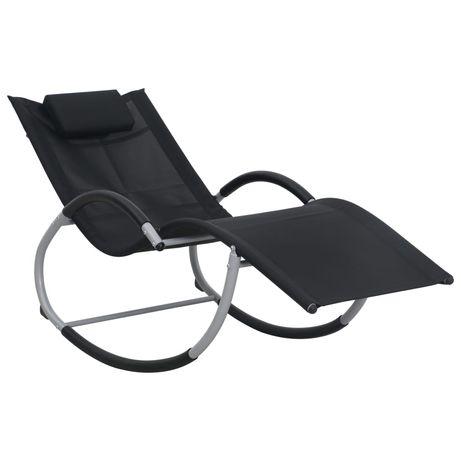 vidaXL Espreguiçadeira dobrável com almofadão textilene preto 47788