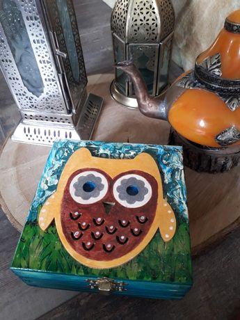Kuferek skrzynka ręcznie malowana nowa tania kolorowa