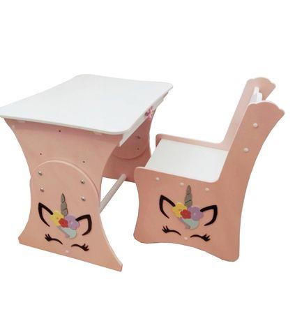 Дитячий столик єдинороги, столик з шкхлялою, столик для творчості