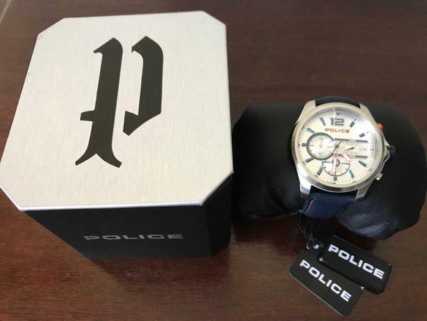 (Original/Novo) Relógio Police Azul & Prateado