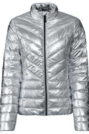 Srebrna kurtka pikowana lustrzana mirror L XL