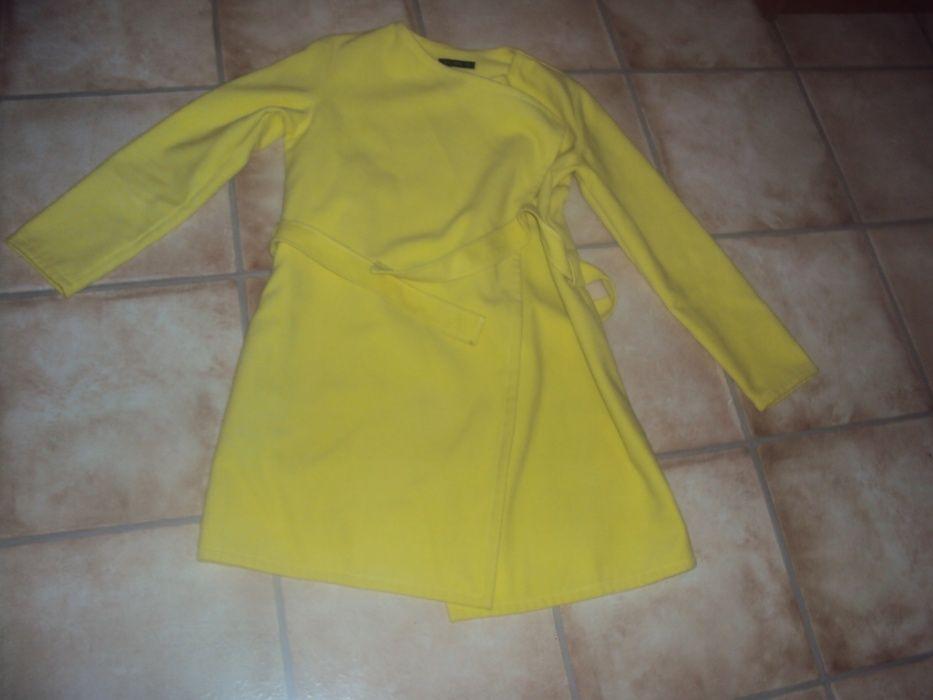 Płaszczyk wiosenny wiązany l/xl 40 42 żółty narzutka marynarka Dusin - image 1