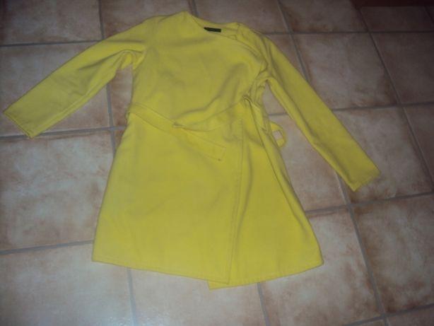 Płaszczyk wiosenny wiązany l/xl 40 42 żółty narzutka marynarka