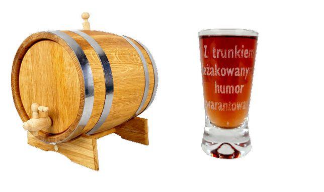 Beczka dębowa 20 L Kranik drewniany + Kieliszek 50 ml napis WYSYŁKA 24