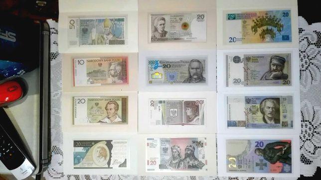 Zestaw banknotów kolekcjonerskich NBP 12 sztuk