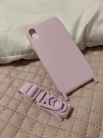 Capa rosa para iphone XR com fita
