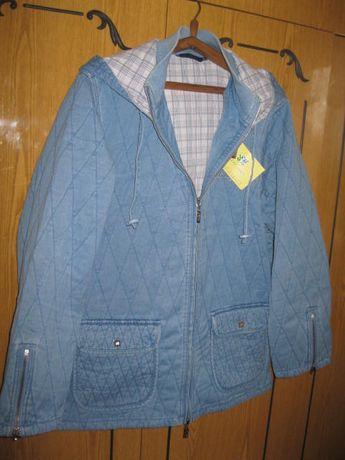 450грн.Джинсовая Куртка с капюшоном новая (ветровка, парка) р.48-52 L