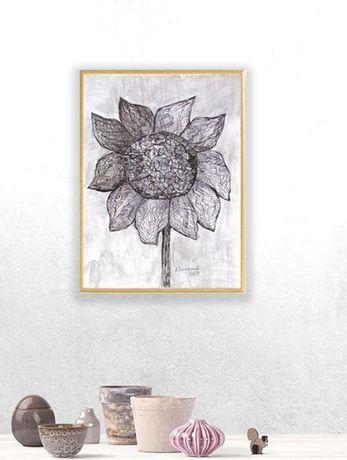 nowoczesna grafika ze słonecznikiem, skandynawska grafika do pokoju