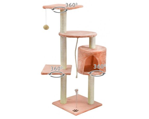 Drapak dla kota 110 cm beżowo-różowy