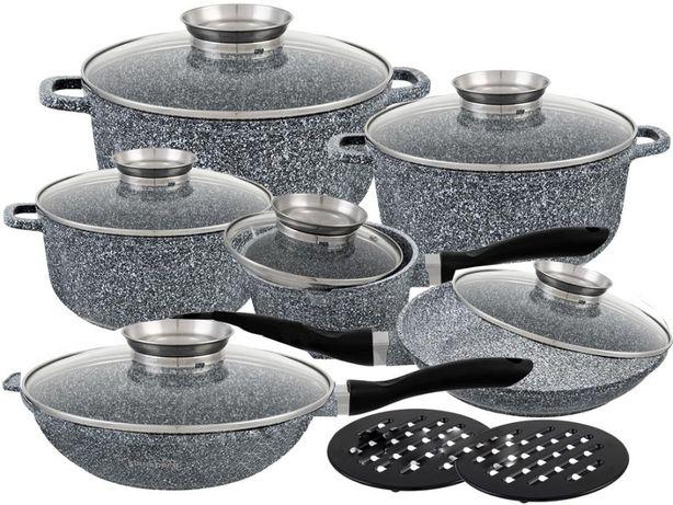 Набор кастрюль посуды Edenberg EB-8040 гранит мрамор ковш сковородка