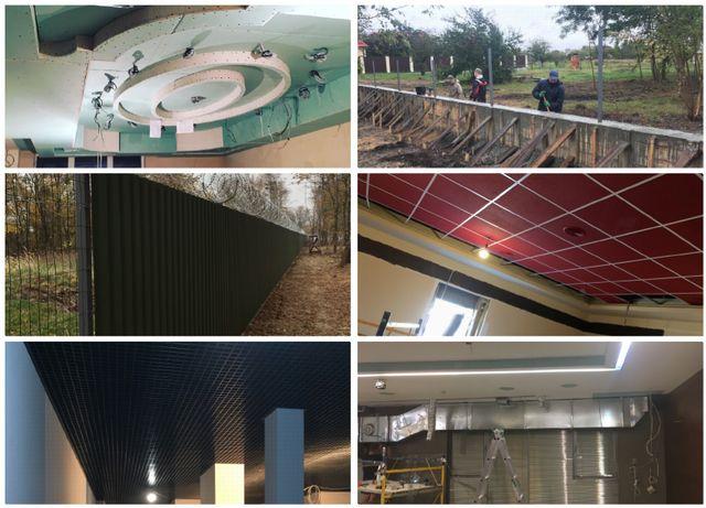 Строители(гипсокартон, сварка, фундаменты, вентиляции, забори, Армстро