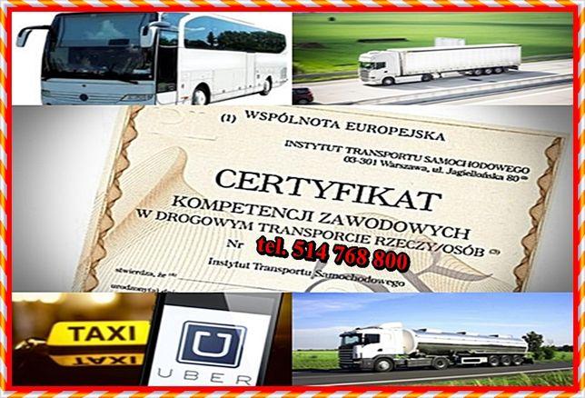 Użyczę certyfikat kompetencji zawodowych przewóz rzeczy lub osób Uber