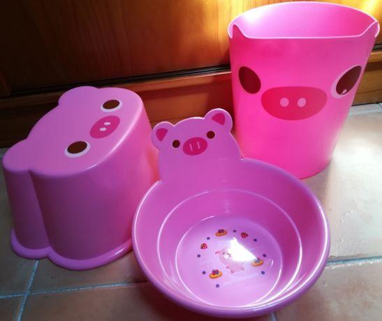 Conjunto de banho para bébé ou criança ( Banco , Alguidar e Balde )