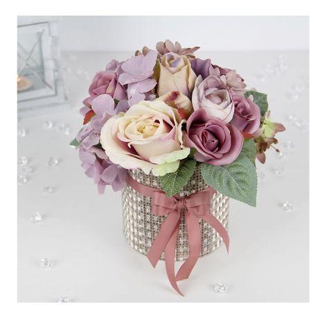 BUKIET w kremowym pudełku MIX kwiatów satynowych Dzień BABCI