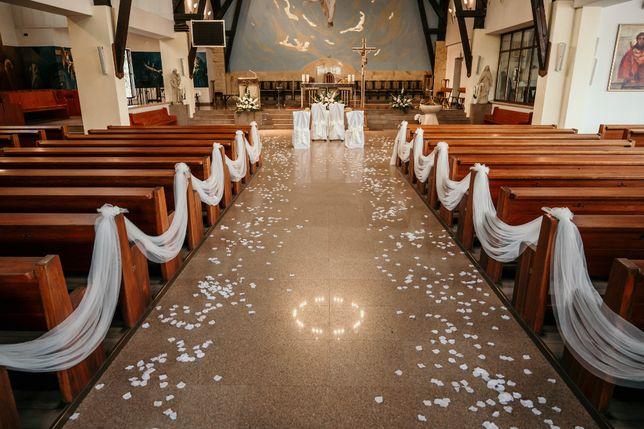 ŚLUB dekoracja ślubna kościół tiul szarfy