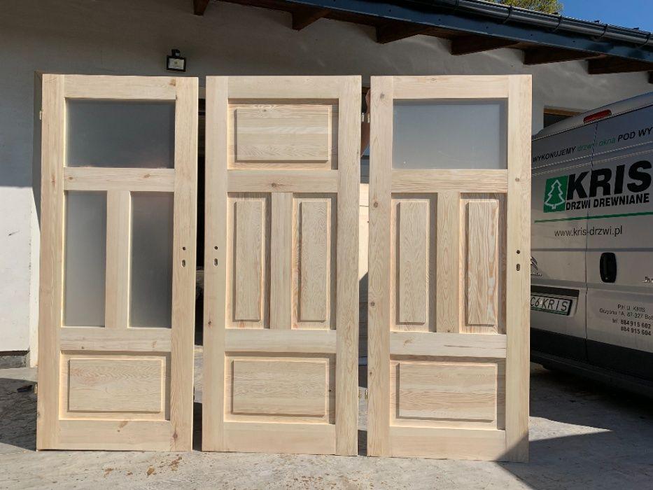 Drzwi lite 100% drewniane sosnowe z oscieżnicą CAŁY KRAJ OD RĘKI Grzybno - image 1