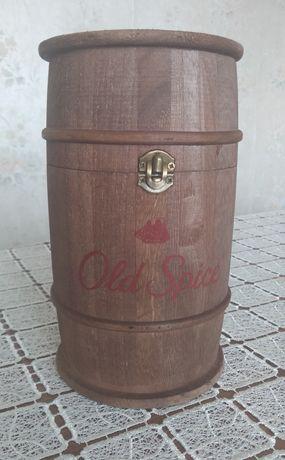 Brązowa drewniana beczka Old Spice zamykana wys. 21,5 cm