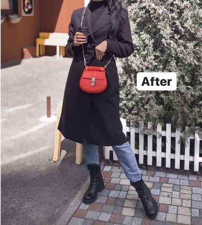 Чёрное, длинное пальто H&M сумка красная