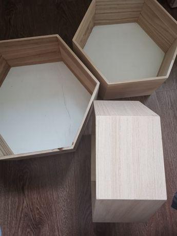 Półki plaster miodu hexagon drewniane