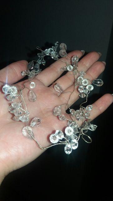 Ozdoba opaska ślubna do włosów z krysztalami kamieniami
