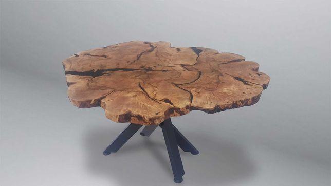 -40% Duży stół orzech włoski lub lipa z żywicą. 140x110 cm