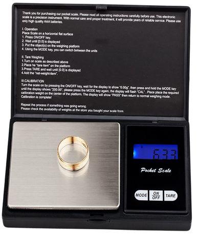 Elektroniczna waga jubilerska 0,01g 200g kieszonkowa gramowa W004
