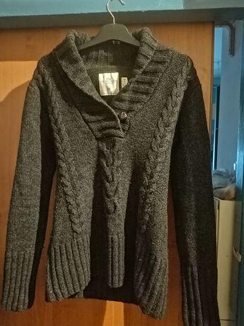 H&M sweter męski L szary grafit vintage retro