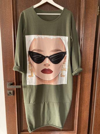 Sukienka zielona oversize