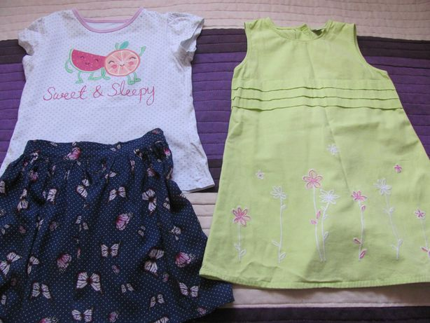 Letni zestaw sukienka spódniczka spodenki 5 bluzeczek 6-7 lat