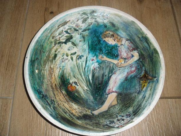 talerz recznie malowany