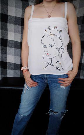 Рубашка безрукавка/ майка белая ручной росписью