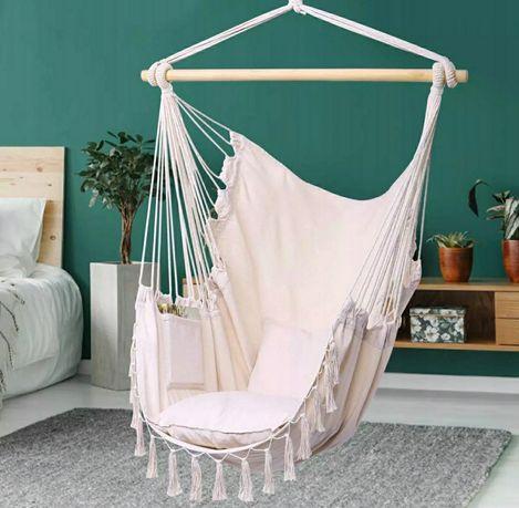 Nowy fotel hamak wiszący Krzesło podwieszane jasny kolor piękny