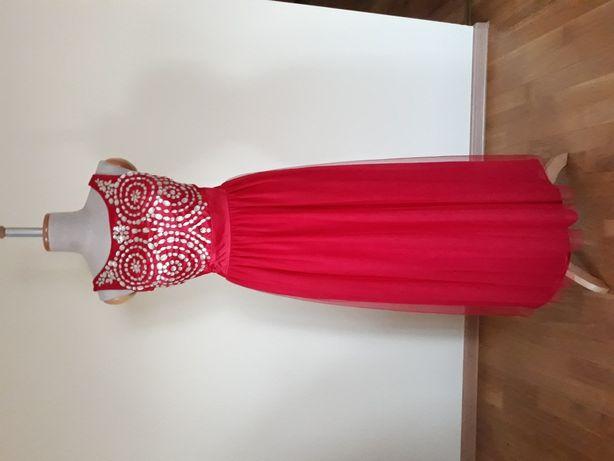 Suknia wieczorowa M sukienka długa piękna tiul kamienie