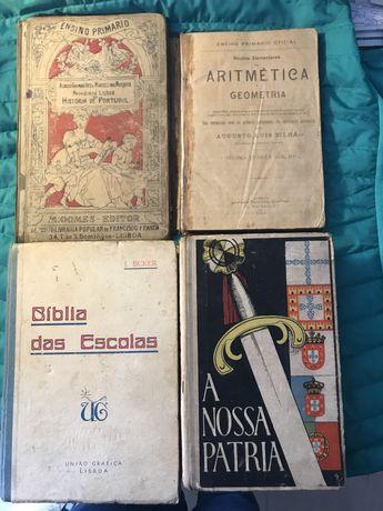 Livros escolares antigos A Nossa Pátria Noções Aritmética História