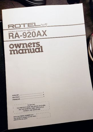 Manual Instruções Rotel Hi-Fi Stereo Integrated Amplifier RA-920AX