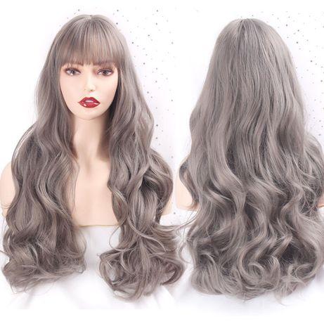 Peruka szara długie szare włosy długa