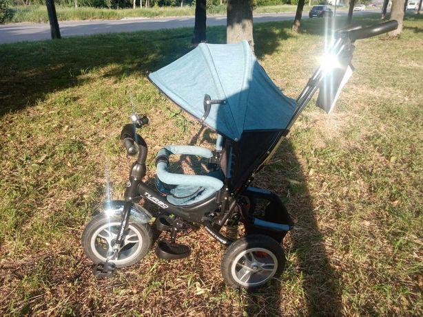 Детский трёхколёсный велосипед-коляска Turbo Trike, цвет джинс