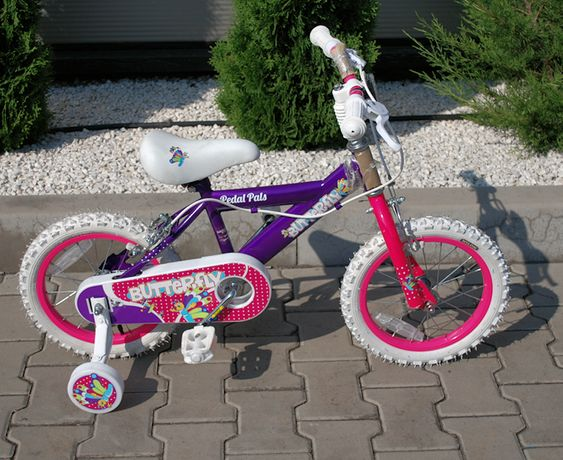 """Rowerek dla dziewczynki 14"""" motylki fioletowo różowy"""