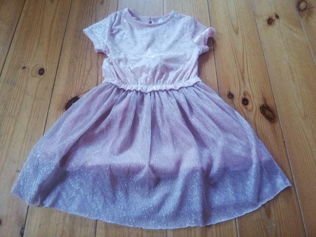 Sukienka z błyszczącą nitką, r. 104, na różne okazje, pudrowy róż