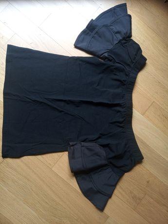 Bluzka czarna z falbanami odkryte ramiona