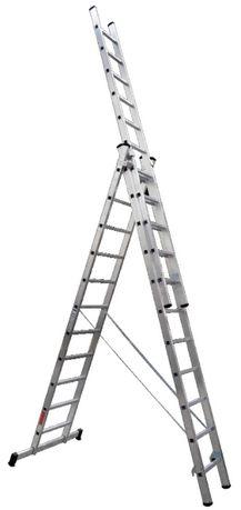 Escada tripla 3+3+3 metros em alumínio degrau quadrado barra estabiliz