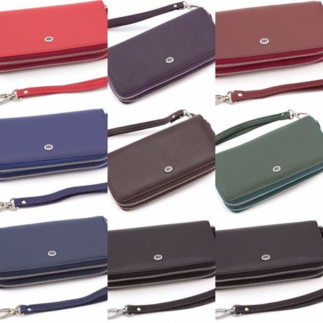Женский кожаный кошелек клатч на две молнии цвет черный/красный ST.